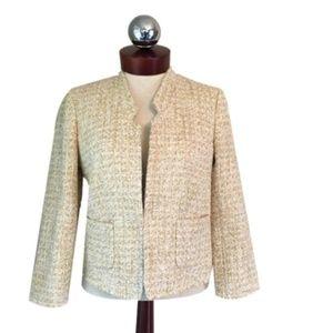 ANN TAYLOR Tweed fringe metallic jacket 2